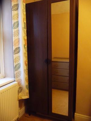 Ikea single bedroom wardrobe with mirrored door, excellent condition