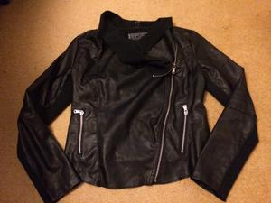 Black leather look new look jacket size 12