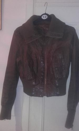 Womens New Look Brown Leather Jacket