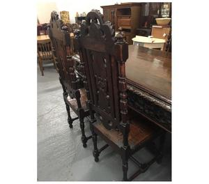 antique s dark oak grand dining table chairs posot class