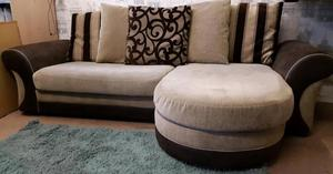 Brown beige chenille chaise corner. Delivery available