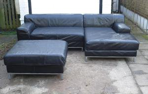 Large leather corner sofa with chaise and ottoman