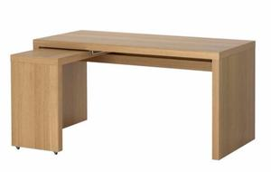 Wooden ikea malm desk with pull out panel posot class - Ikea office desk uk ...