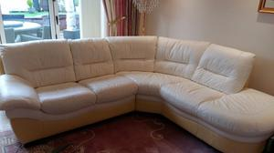 Cream Leather 5 seater chaise lounge corner sofa with matching electric reclining chair.