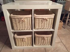 Wicker Basket Storage Cube : White storage unit wicker baskets posot class