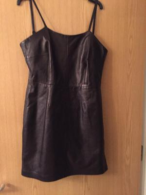 Little brown leather dress