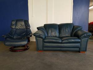 Ekornes stressless windsor high back 3 seater sofa posot for Blue leather reclining sofa
