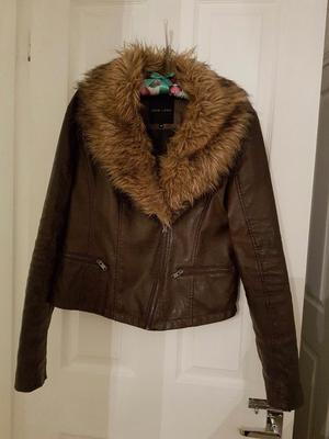 New look brown leather jacket size 14