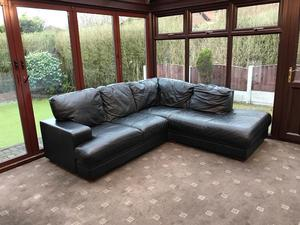 Black Leather Corner Sofa Delivery Possible