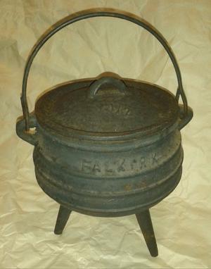 Antique Falkirk Cast Iron Cauldron # 1/2 Potjie Cooking Pot