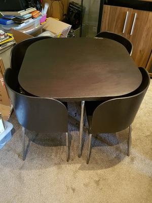 ikea fusion compact hideway dark brown dining table 4 chairs