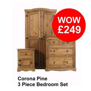 Solid Pine 3 Piece Bedroom Furniture Set **Delivery