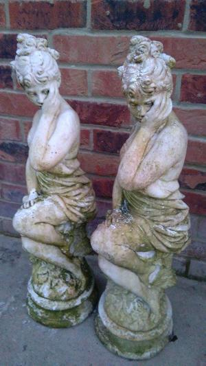 pair of stone garden statues ornaments