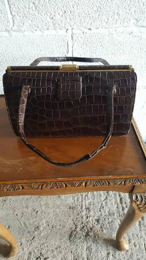 Vintage rown crocodile skin leather handbag by Riviera Bag