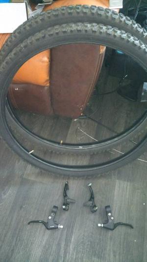 MTB spares.. Tyres, brake levers, back v-brake