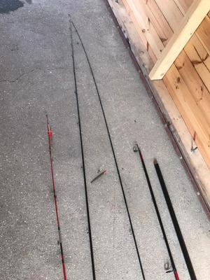 River fishing rods and 3 big bags and accessories for bate etc