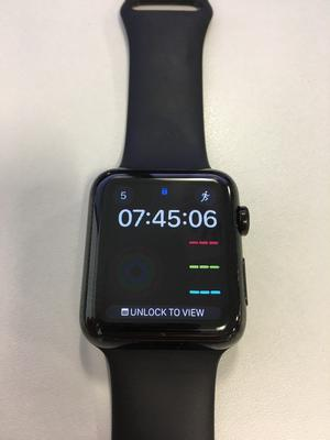 Apple Watch Series 1 - 42mm Stainless Steel Space Black - Sports Band Black