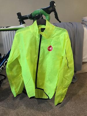 Castelli Long Sleeve Hi Vis rain jacket Mens Large