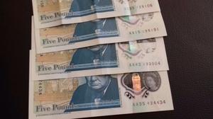 New £5.00 notes- Serial Nos. AA, AA, AA, AA