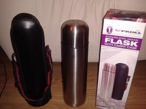 Prime 1L Stainless Steel Flask With Leather Look Carry Case In Boxed