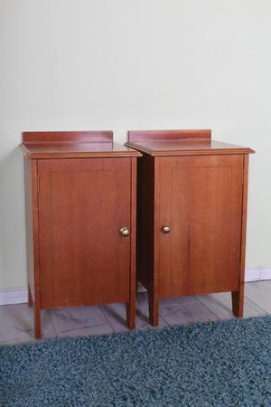 2 x BEDSIDE TABLES WITH BRASS HANDLE AND SHELF - FREE LOCAL