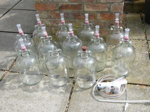 12 DEMIJOHNS + 10 AIRLOCKS & BUNGS + HYDROMETER, SYPHON PIPES ETC: BARGAIN*COLLECT LINCOLNSHIRE