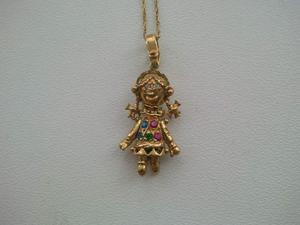 a beautiful 9ct gold moving rag doll pendant posot class
