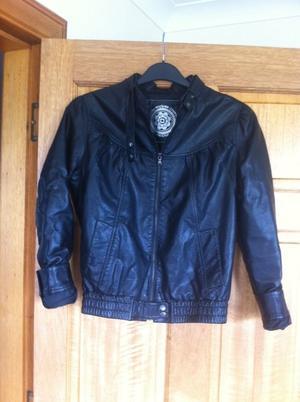 New look black leather jacket size 12