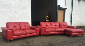 Red Leather Modular Corner Sofa Dfs California Posot Class