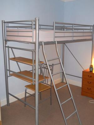 metal high sleeper with desk wardrobe chair posot class