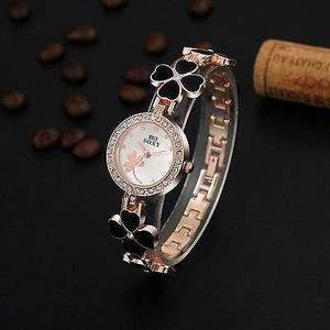 Women's Bangle Bracelet Stainless Steel Crystal Clover Quartz AWrist Watch