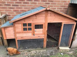 Chicken coop & 2 Banty hens