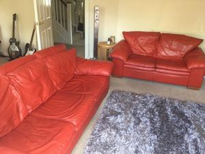 2 Dfs Miami Red Leather Sofas 3 Scunthorpe Posot Class