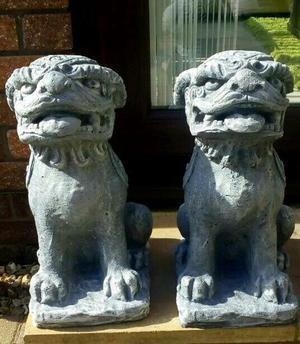 Stunning pair of Foo dog garden statues