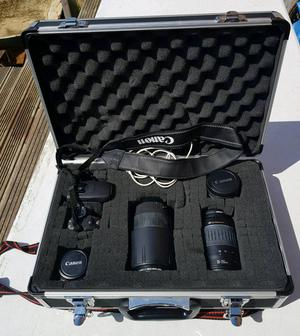 Canon camera and lenses in case