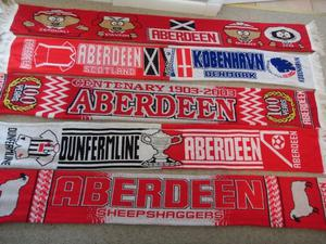 12 x Aberdeen football club collectable scarfs Here we have some collectable Aberdeen scarfs
