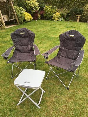 Two soft folding garden/camping chairs, together with small table/stool