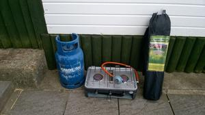 camping cooker plus bottle gas camping folding table