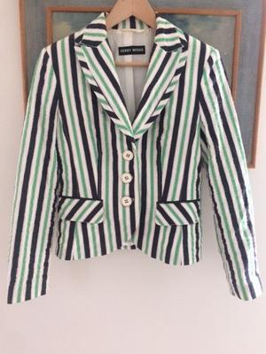 Gerry Webber summer jacket in white, navy and green stripe size 10