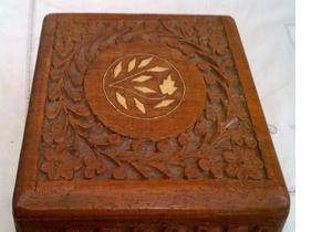 antique inlaid carved wooden box