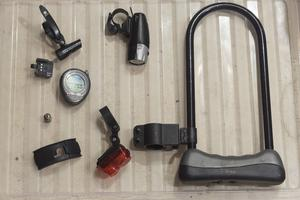 Bike Cycle Accessories Kit - Lights, Lock, Wireless Computer