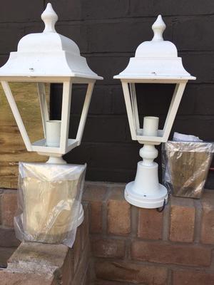 White 240v outdoor lantern lights.