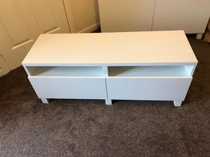 white ikea tv unit and dvd cd holder in posot class