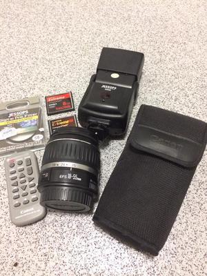 Canon lense, flash, case, accessories