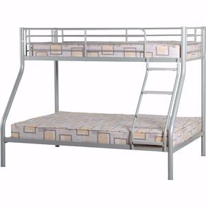 Metal trio bunk bed posot class for Bunk bed with double on bottom