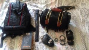 Assorted Camera Accessories and Camera Bags