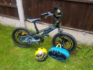 """16"""" Batman bike from halfords with helmet and bag"""