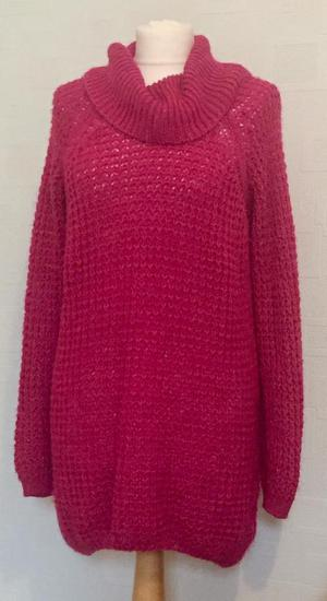 Bright pink jumper dress