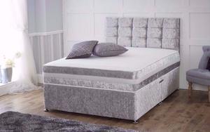 SINGLE - DOUBLE - KINGSIZE =NEW CRUSHED VELVET DIVAN BED WITH MATTRESS