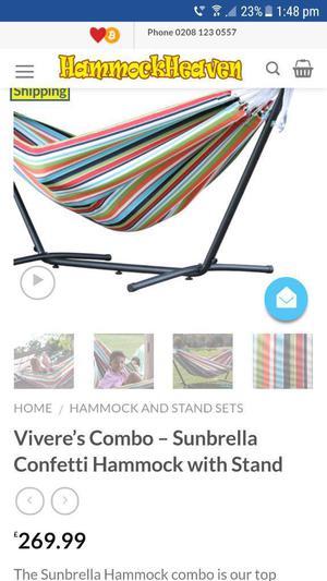 carousel confetti sunbrella hammock with stand and bag BRAND NEW